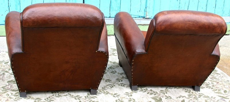 French Club Chairs By Williamu0027s Antiks | WA22 05 Paris Dark Rollback Pair  Of Leather French Club Chairs | 1