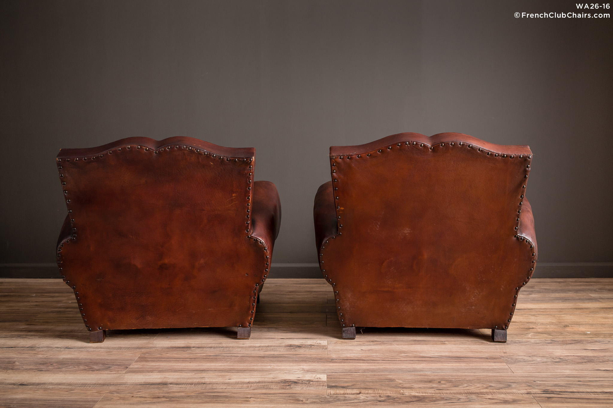 French Club Chairs By Williamu0027s Antiks | WA26 16 Royan Mustache Pair Of  Leather French Club Chairs | 1