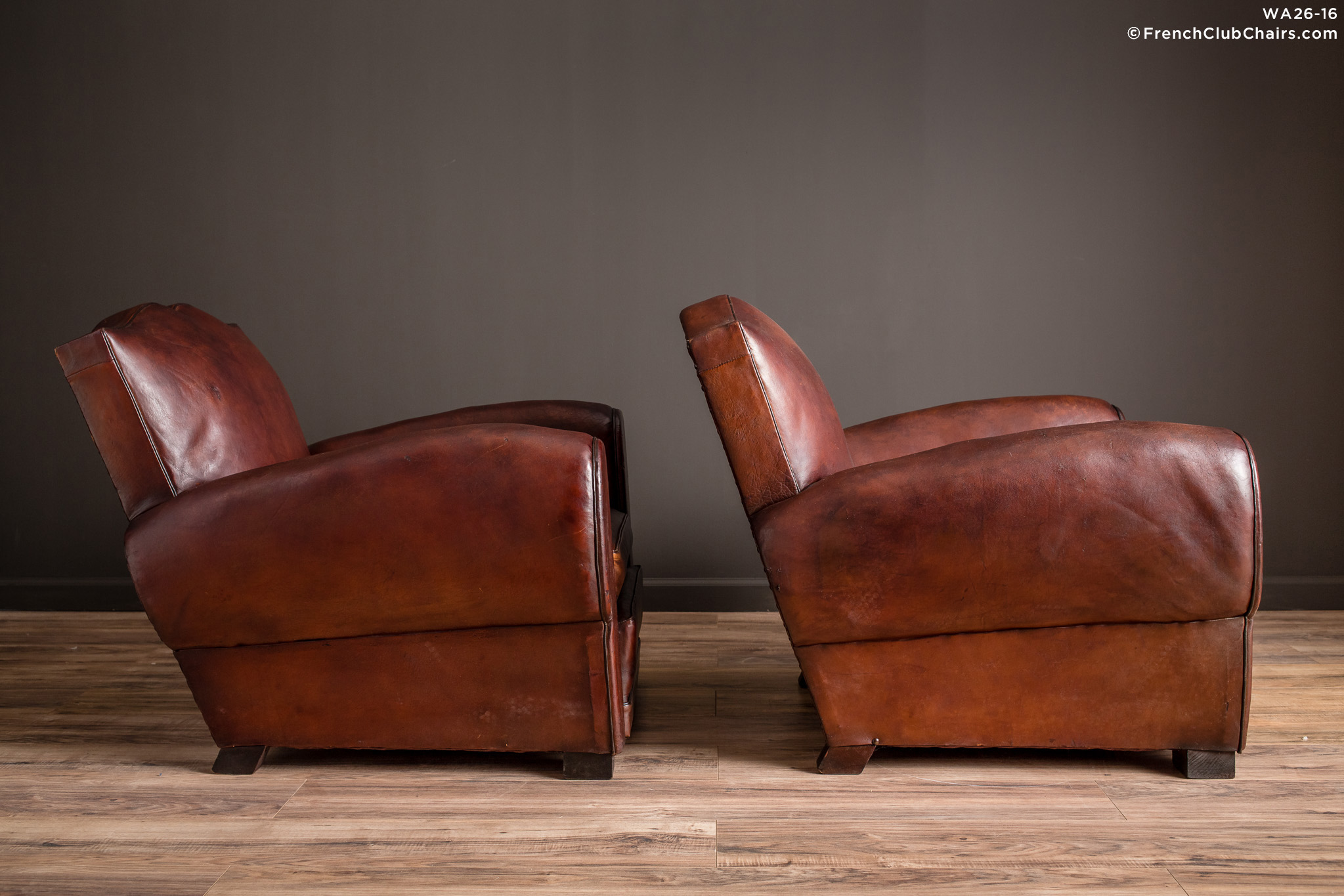 $9,750.00. Royan Mustache Pair Of Leather French Club Chairs | WA26 16