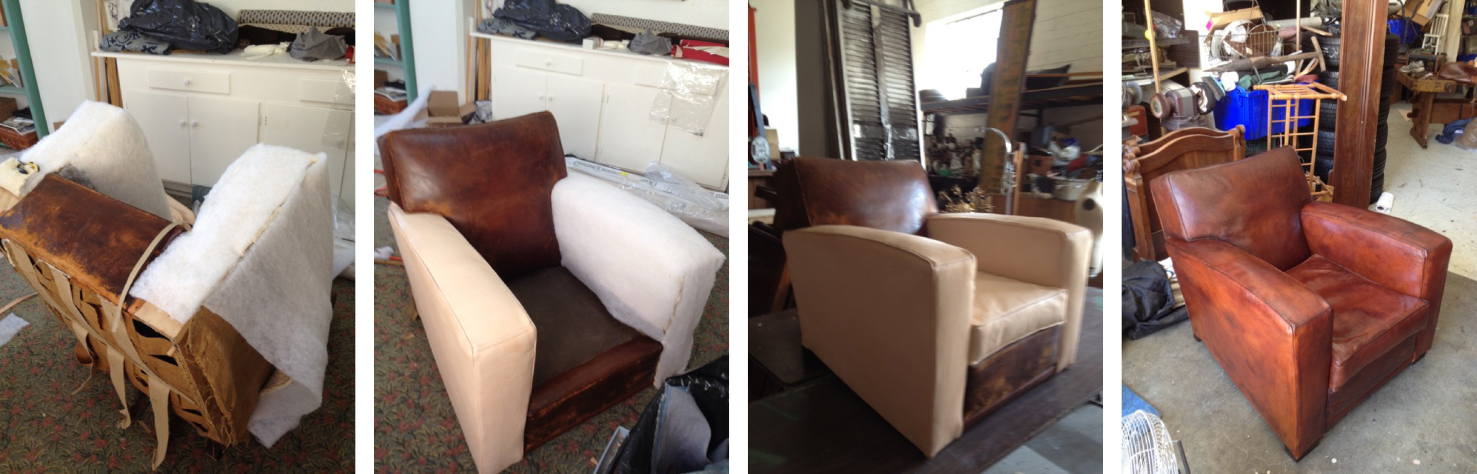 leather French club chair restoration